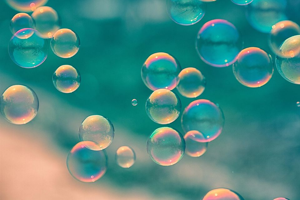 close-up of soap bubbles