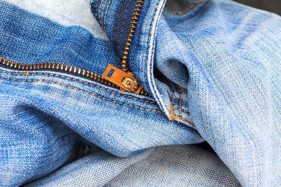 closeup of jeans zipper