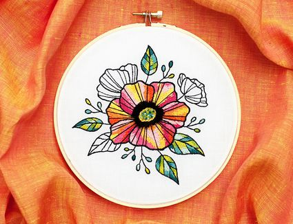 Needle Painted Floral Embroidery on an Orange Background