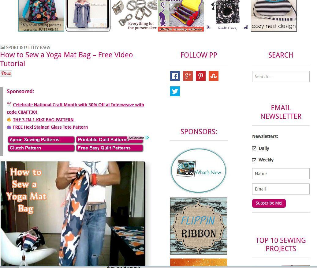 Free Yoga Mat Bag Sewing Patterns