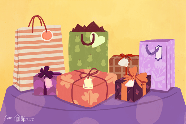 Illustration of different sizes of presents sitting on a table with gift tags