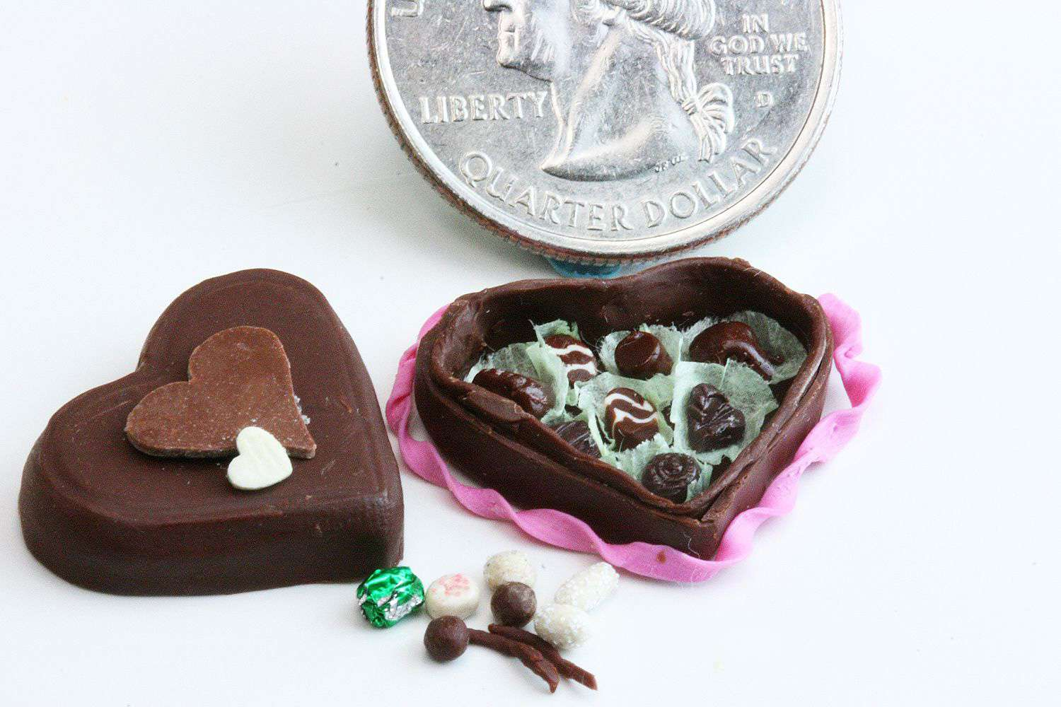 Chocolate heart-shaped box made from polymer clay over a metal former