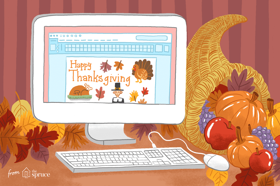 "Illustration of a computer screen with ""Happy Thanksgiving"" words and other clip art on the screen. It's next to a cornucopia"