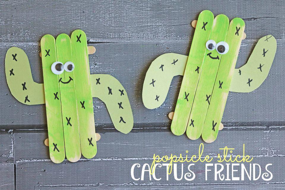 Popsicle stick cactus friends