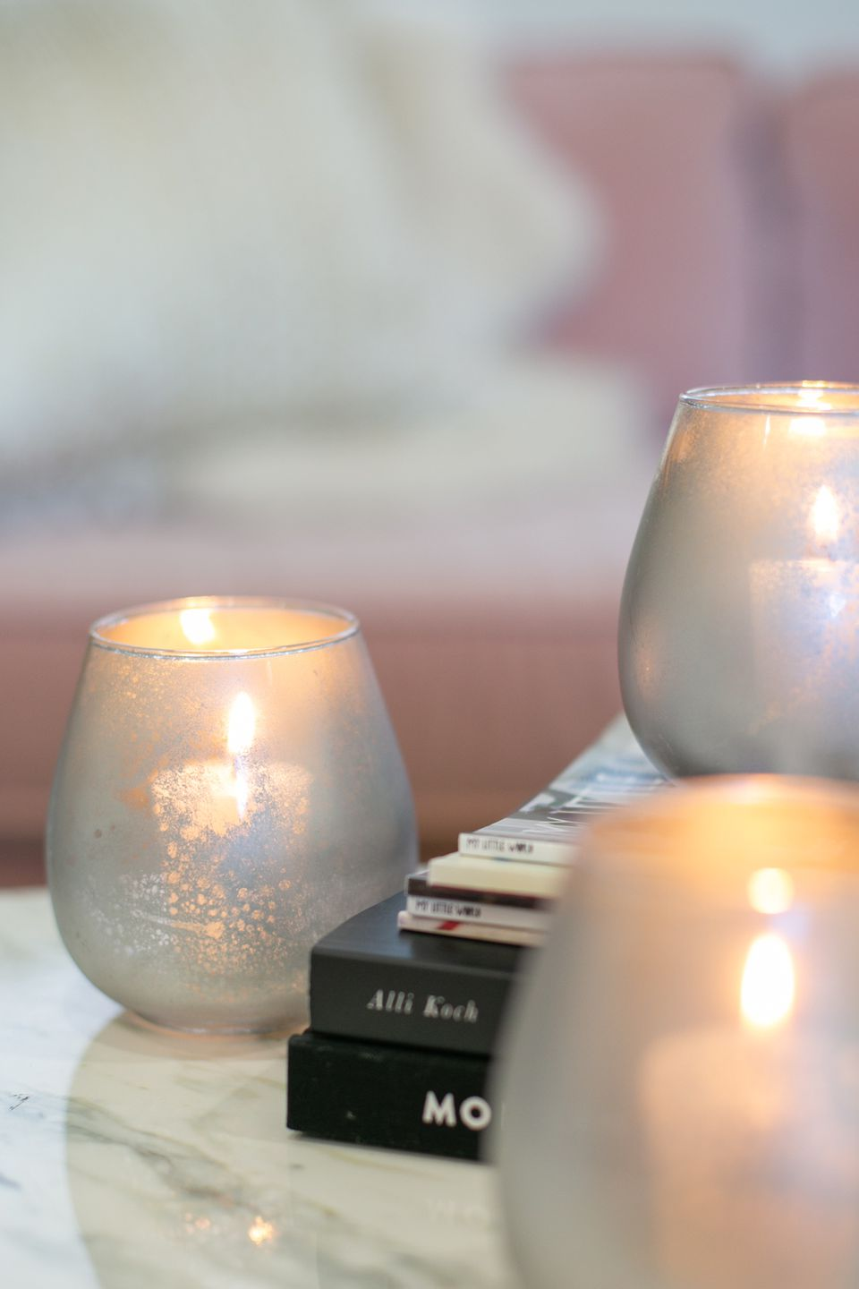 DIY mercury glass candle holders