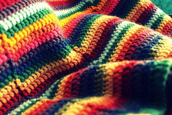 Rainbow Striped Crochet Blanket
