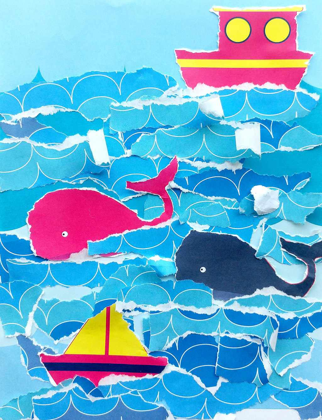 Close up of boat whale and ocean collage