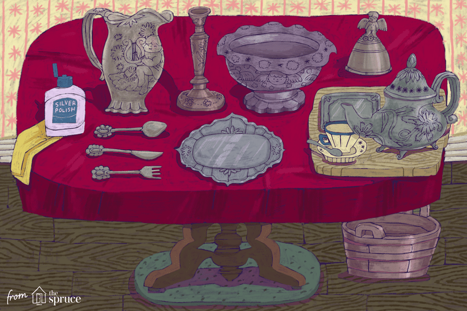 An illustration of different antique silver pieces on a table