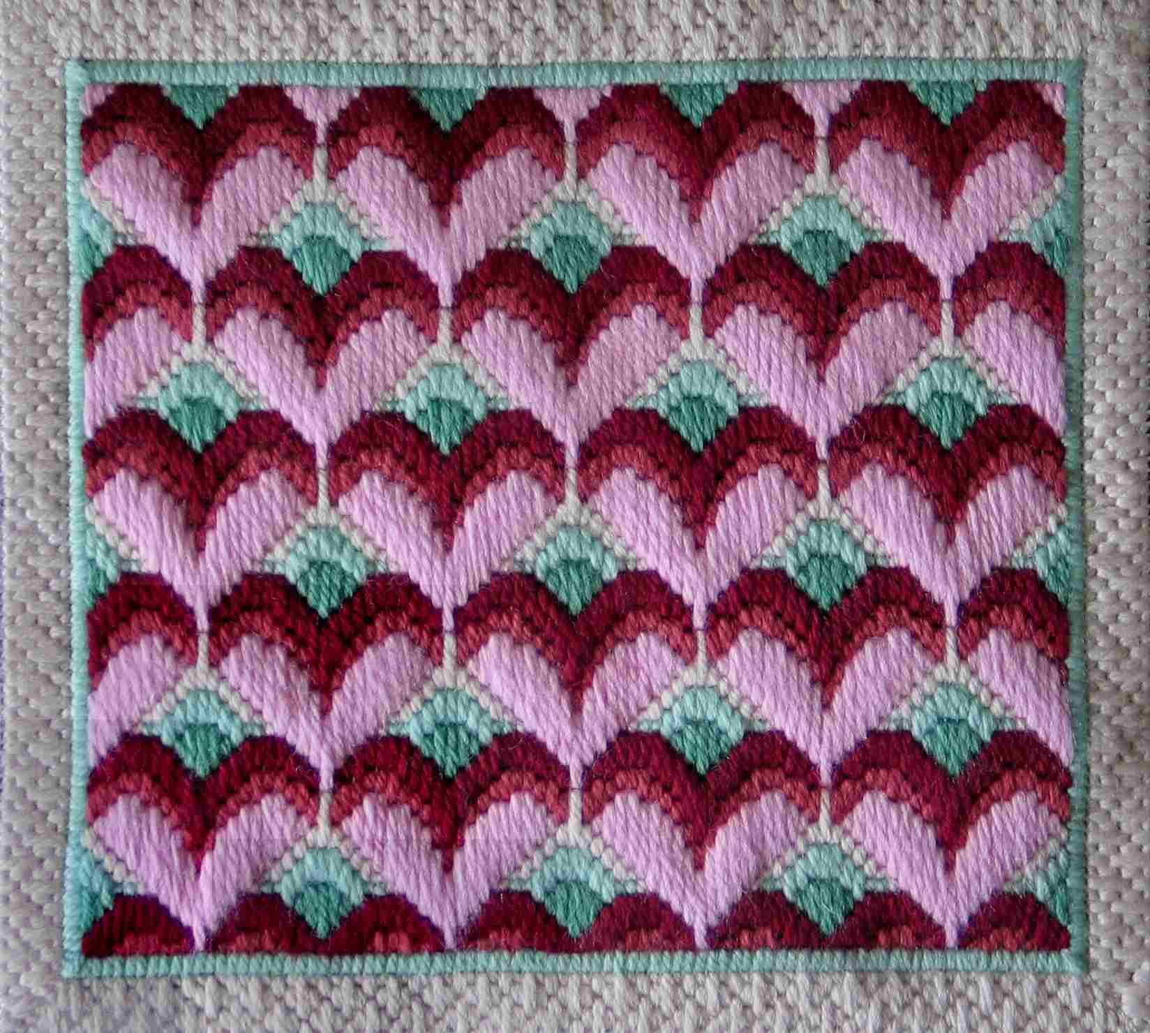Stitched Bargello Hearts Needlepoint Pattern