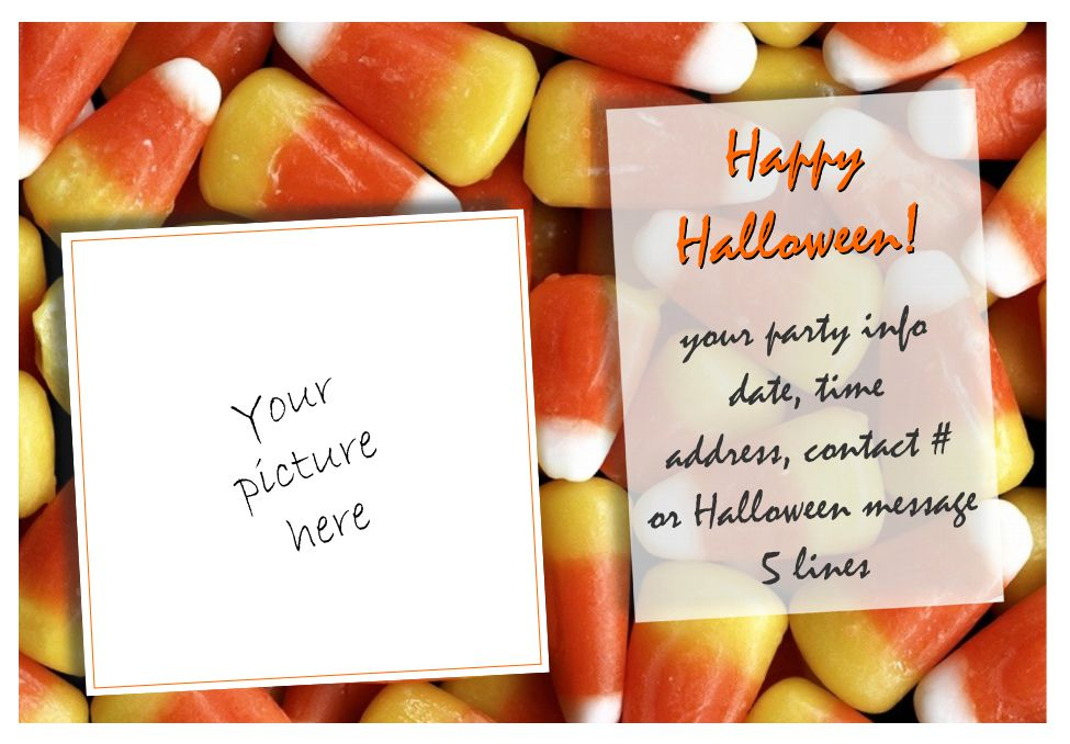 A Halloween Invitation With Candy Corn