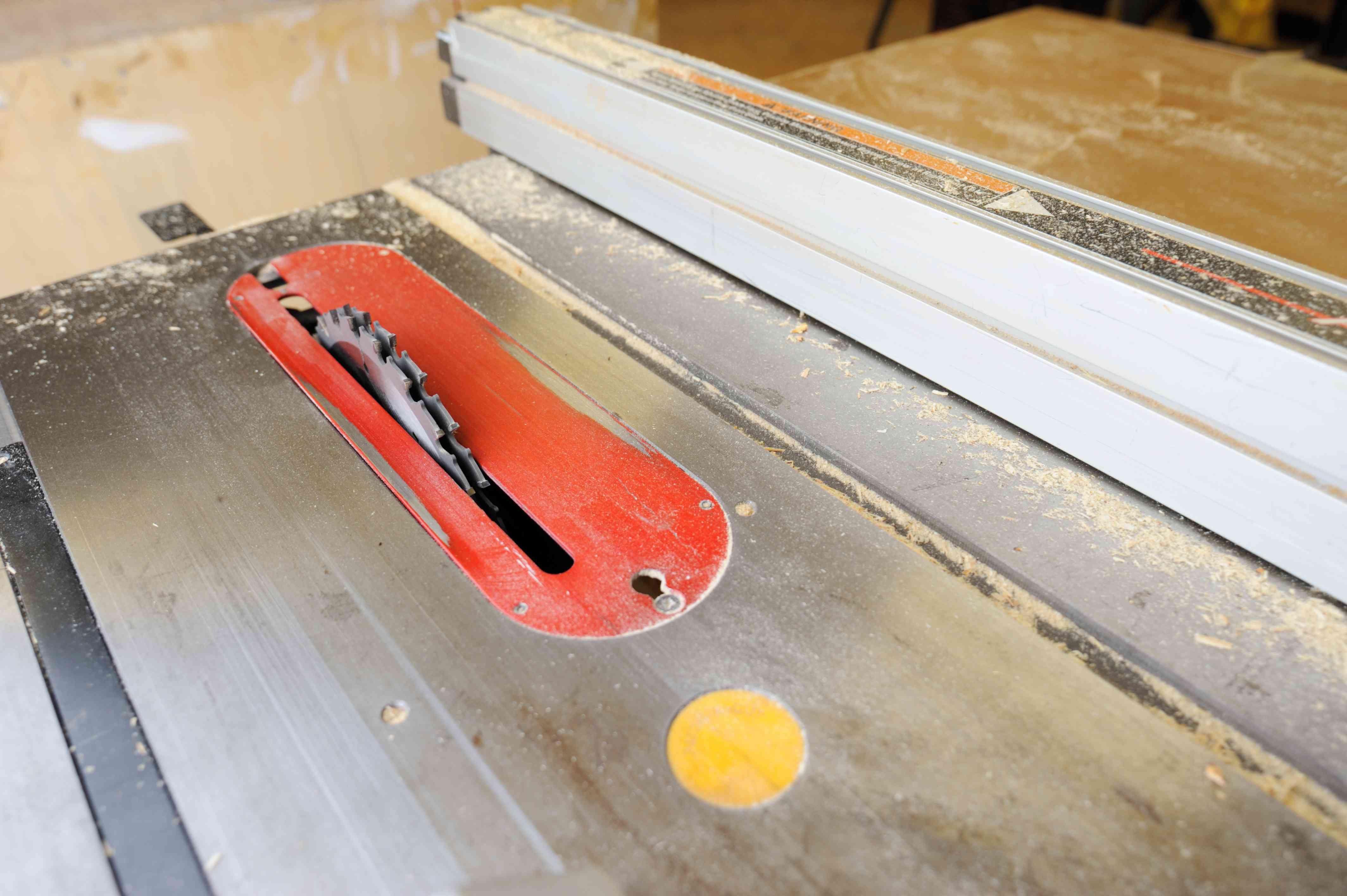 Dirty table saw with dado blade