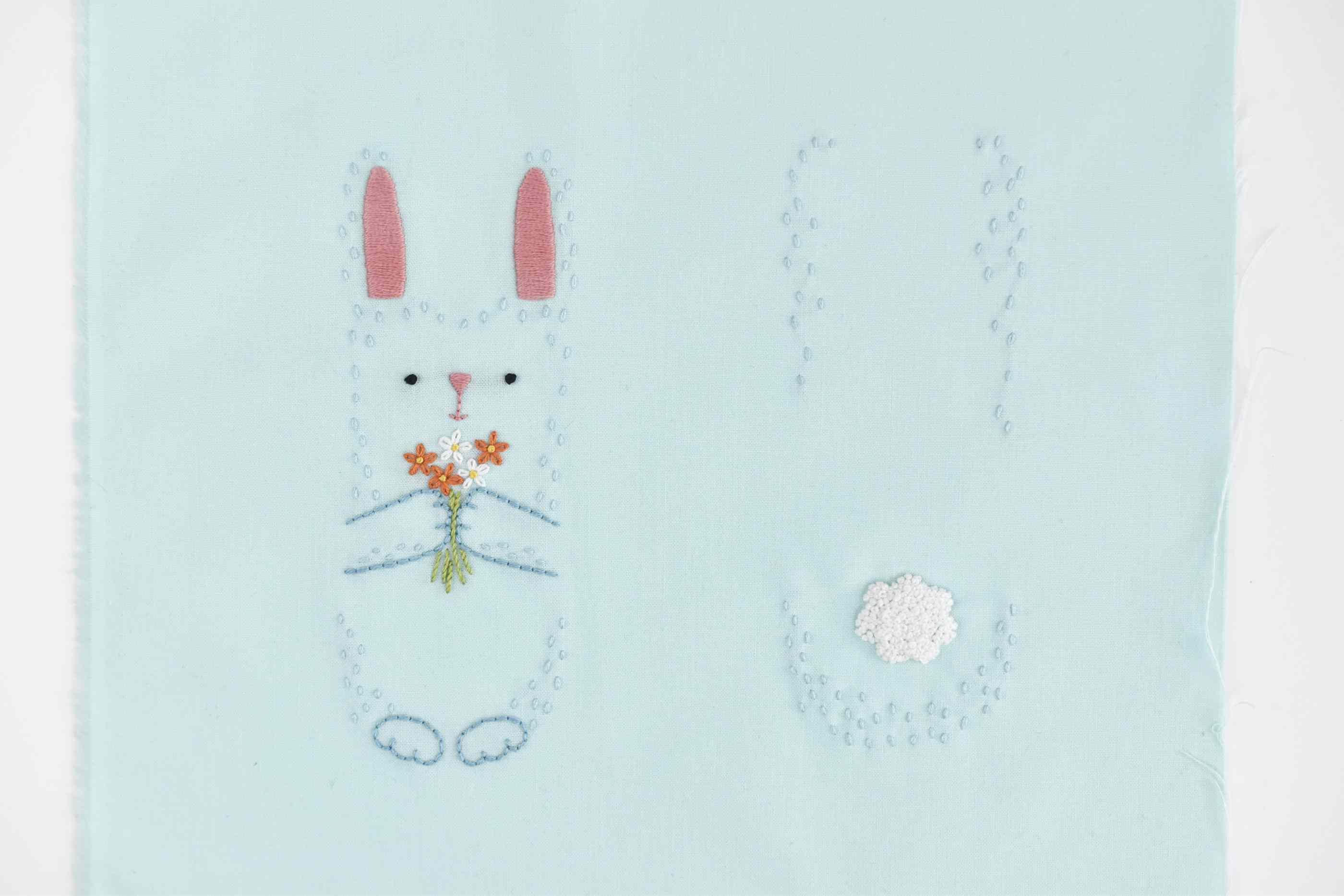 how to make an embroidered bunny stuffed toy