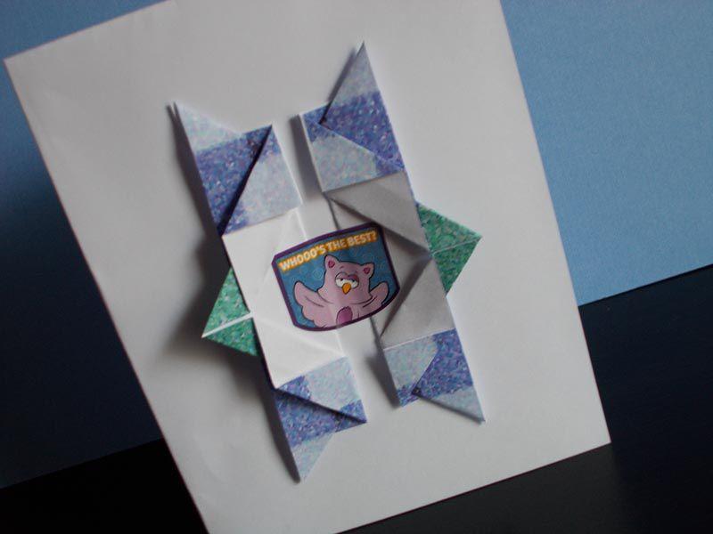 Скрапбукинг, открытка оригами на день рождения дедушке
