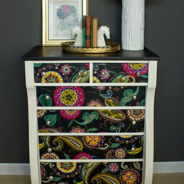 black paisley decoupaged dresser