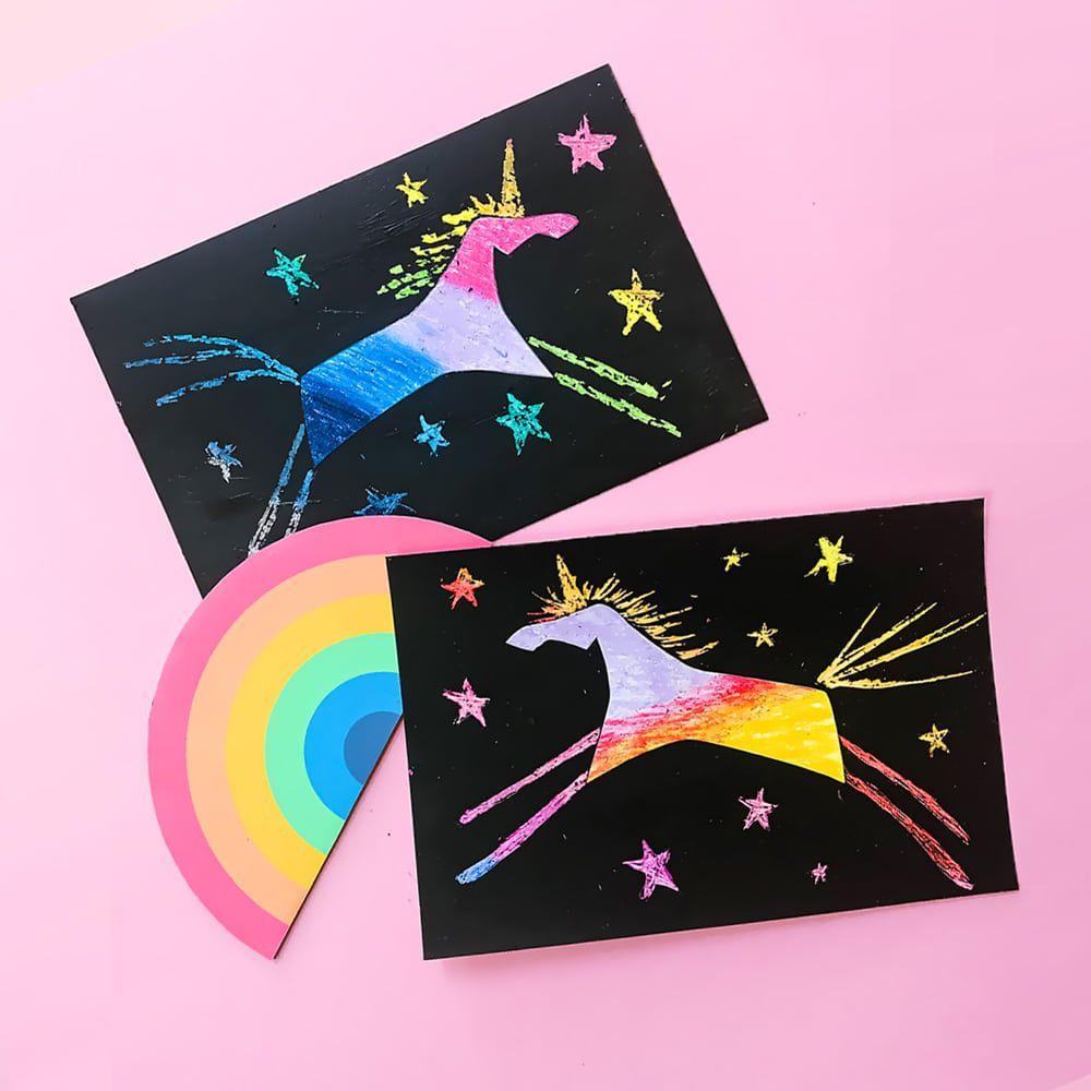 Rainbow unicorn scratch art