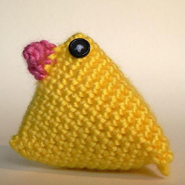 triangular crocheted chick