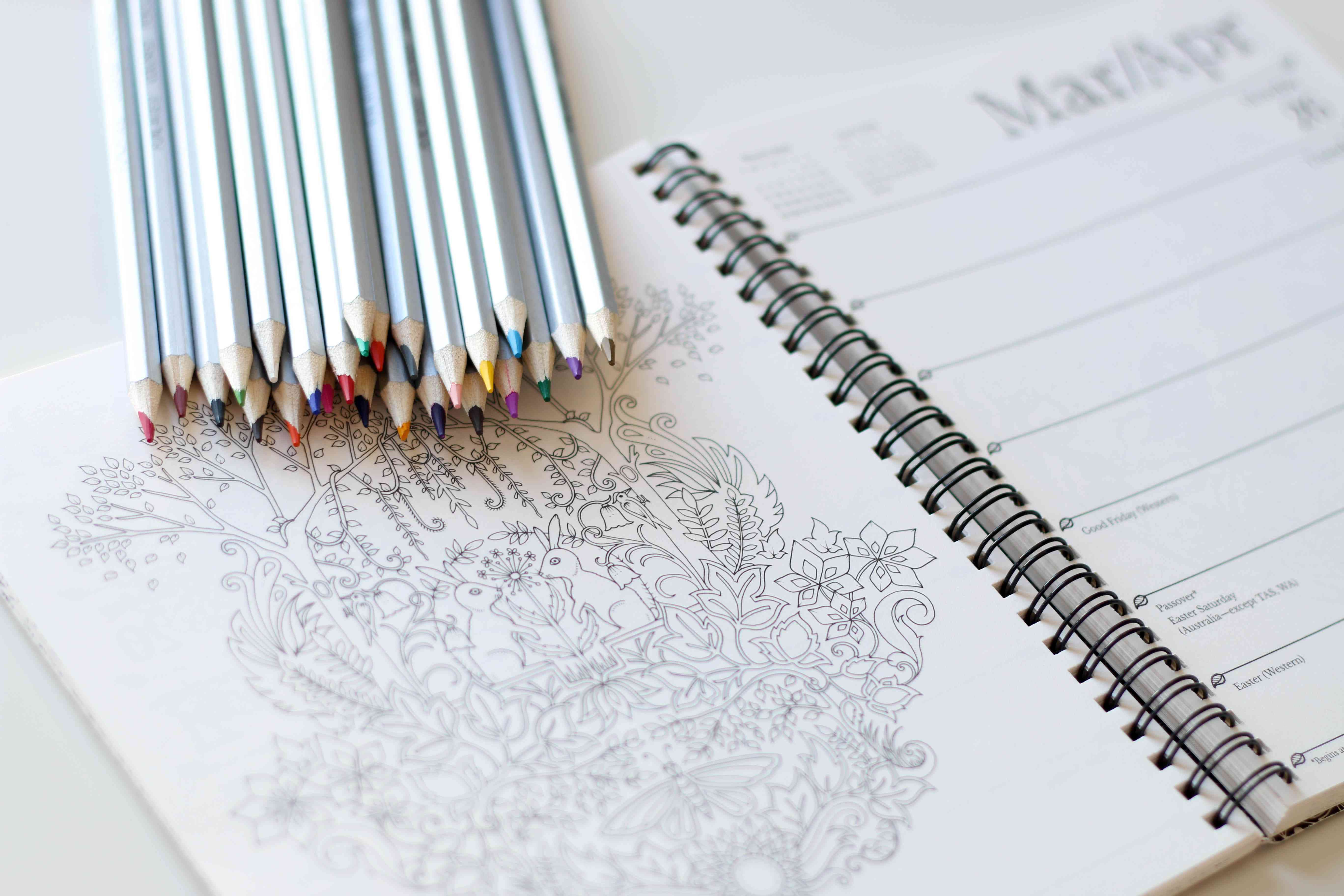 Colored pencils atop a coloring page in a planner