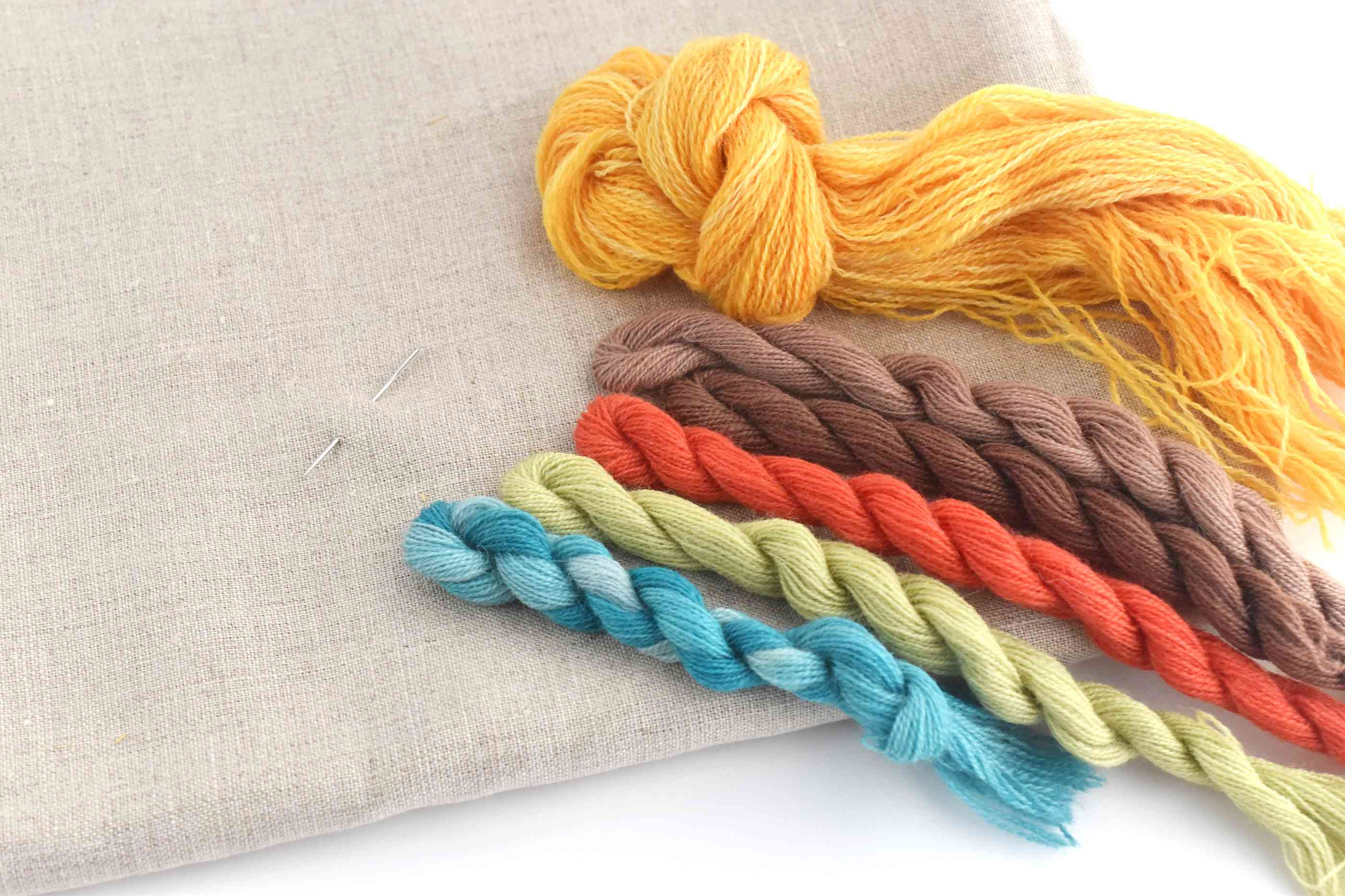Wool Crewel Embroidery Threads and Fabric