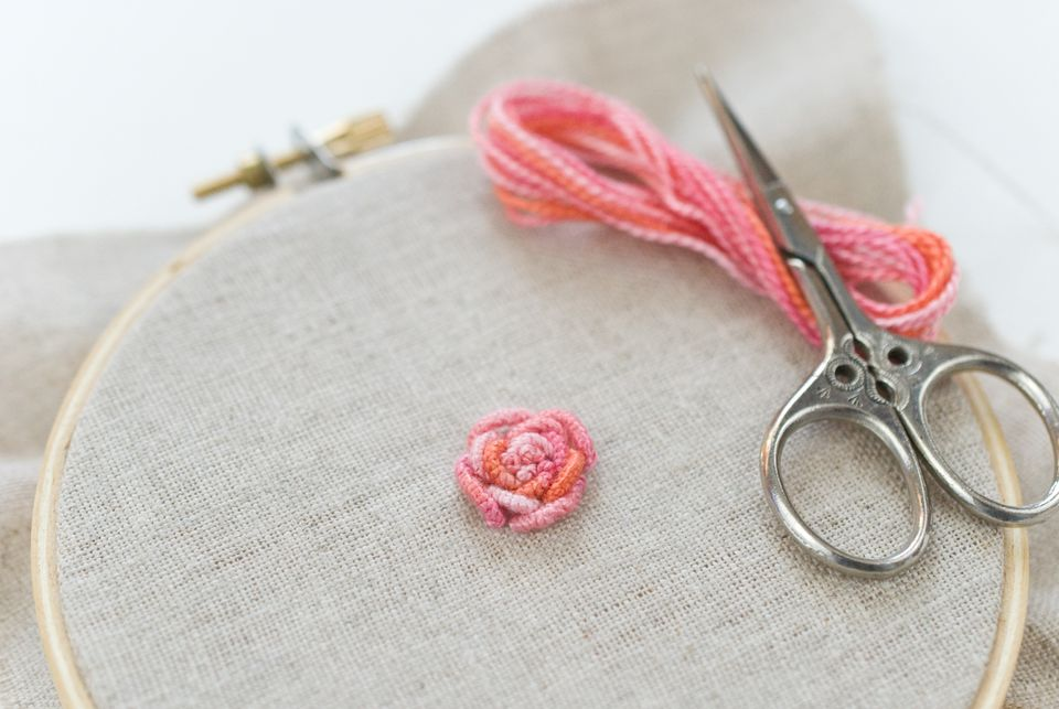 Bullion rose in variegated perle cotton