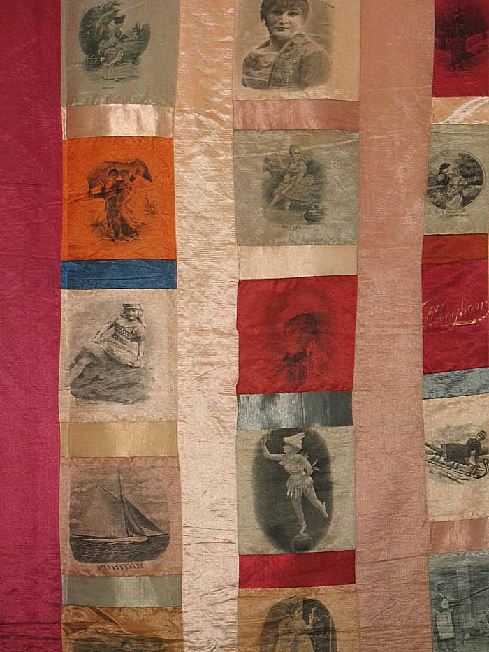 Section of Quilt Made of Cigarette Silks