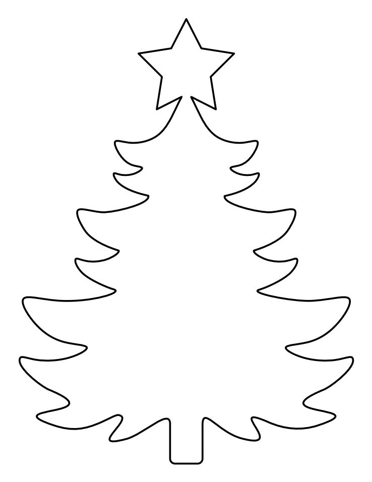 A Christmas tree template with a star on top