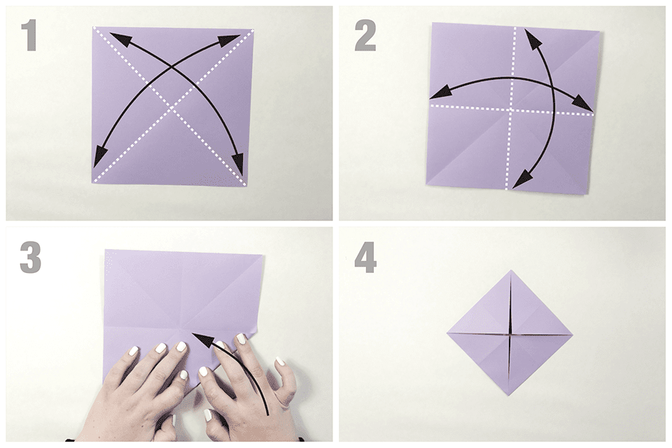 Beginning folds of an origami butterfly
