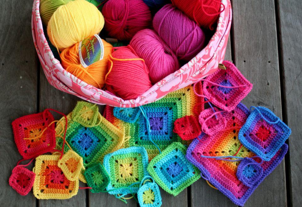 Crochet rainbow squares