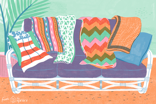 Illustration of afghans on a couch