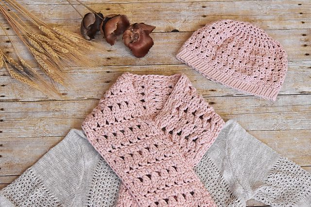 Cotton Crochet Scarf with Matching Beanie