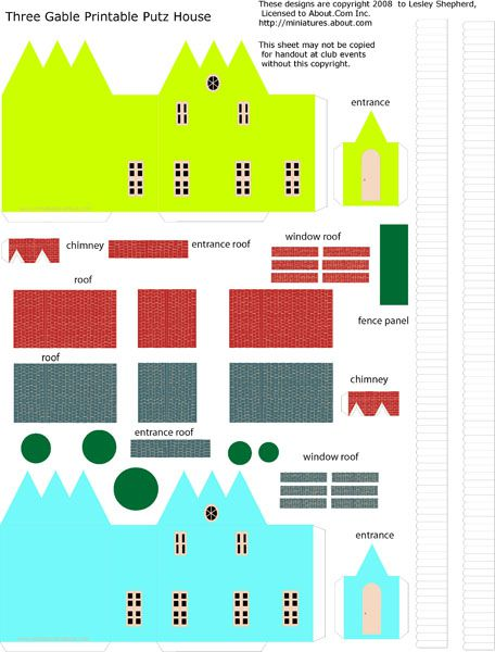 Sheet of printable parts to make miniature Putz Christmas cottages in N scale.