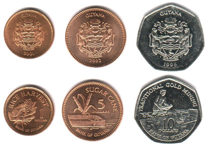 These coins are currently circulating in Guyana as money.