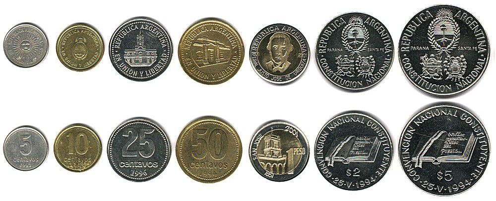 These coins are currently circulating in Argentina as money.