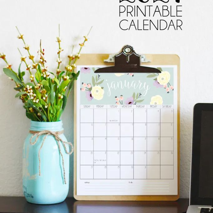 January printable calendar in a clipboard