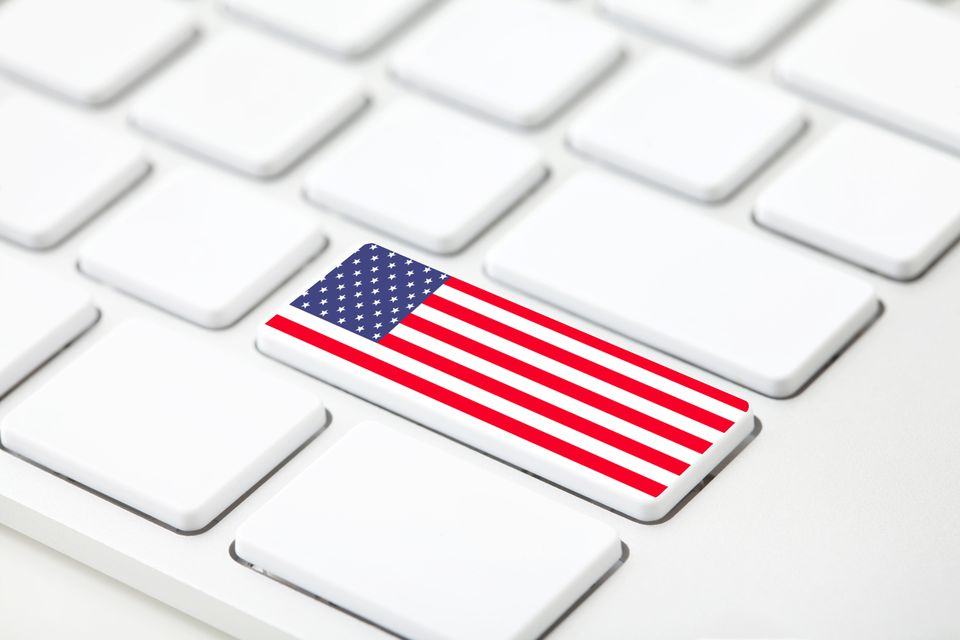 Usa Flag on Computer Keyboard