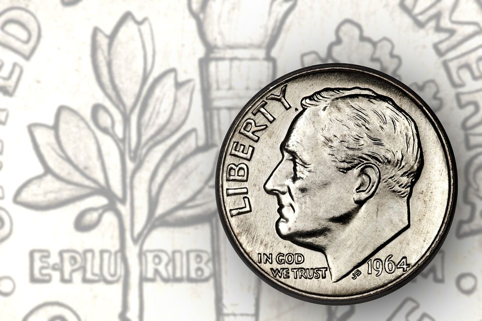 A silver 1964 Roosevelt dime