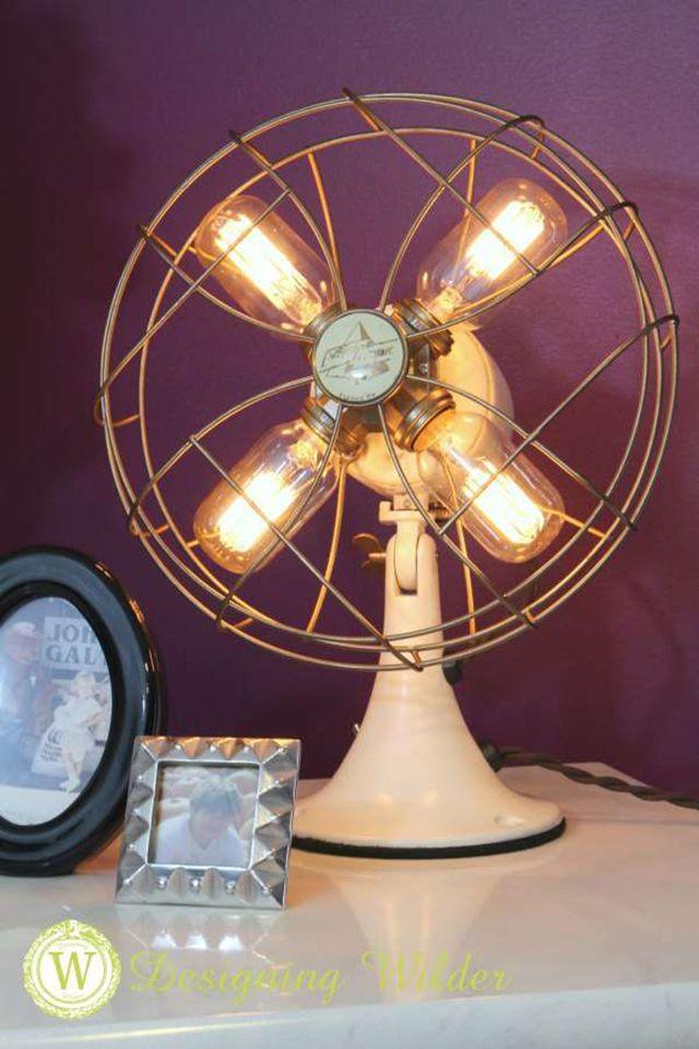repurpose fan into diy lamp