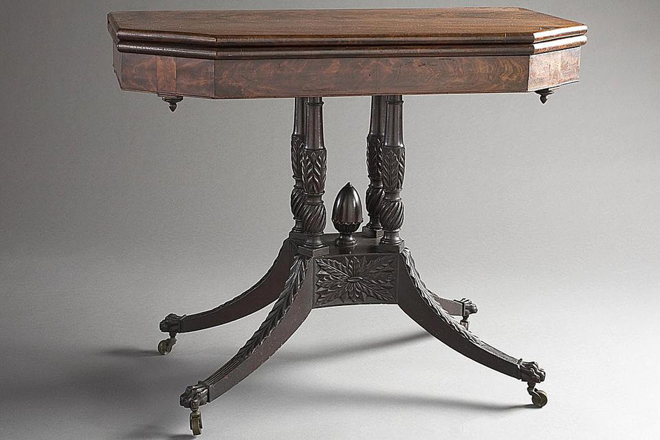 Four-Column Pedestal Card Table with Pineapple Finial.United States, New York, New York City, 1815-1820 Furnishings; Furniture Mahogany, tulip poplar, pine woods 29 1/2 x 36 1/2 x 18 3/8 in. (74.93 x 92.71 x 46.67 cm)