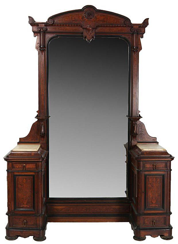 Herter Bros. Inlaid Marble Top Princess Dresser