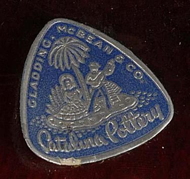 Catalina Pottery Sticker Used by Gladding McBean & Co.