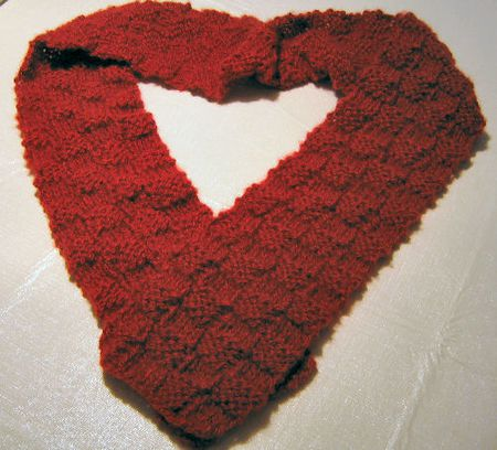Free Knitting Pattern 4x4 Red Woven Scarf