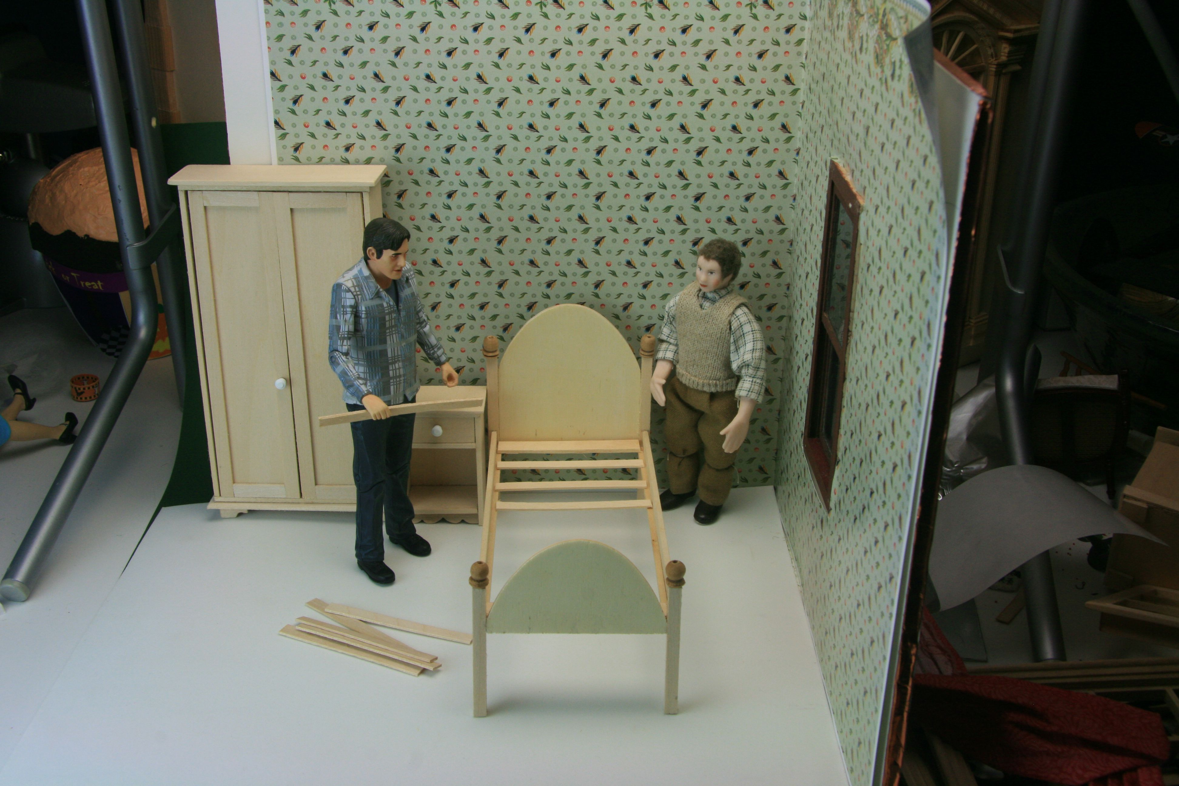 Simple projects for dollhouse bedroom furniture including a bed, armoire and night table.