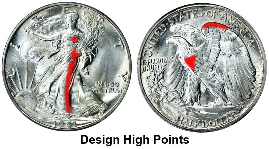 Walking Liberty Half Dollar Design High Points