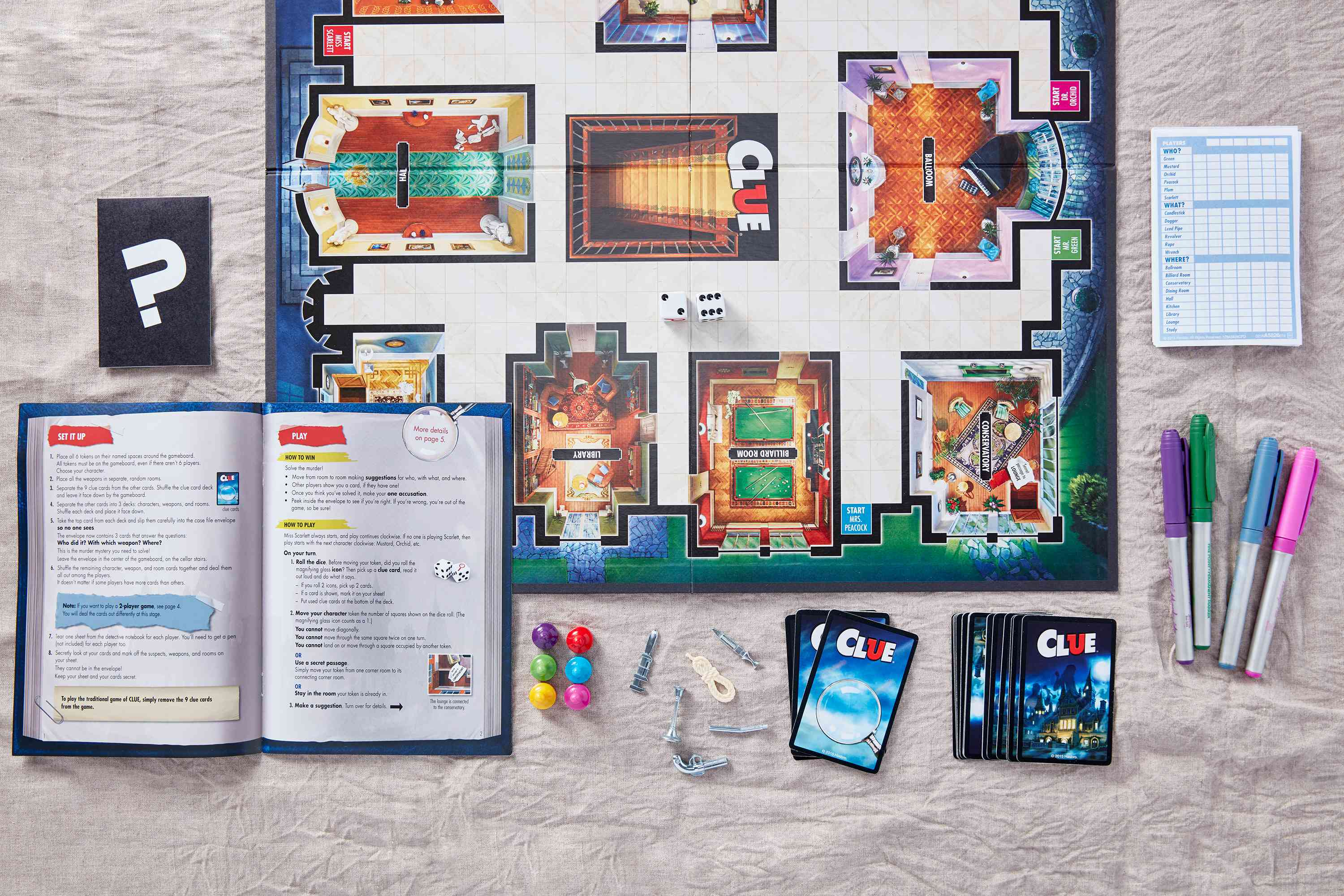 Materials needed for a game of clue