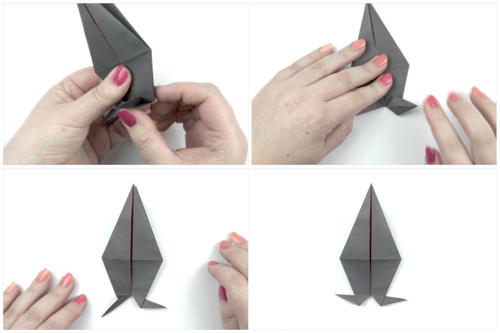 Folds to make an origami bird's feet
