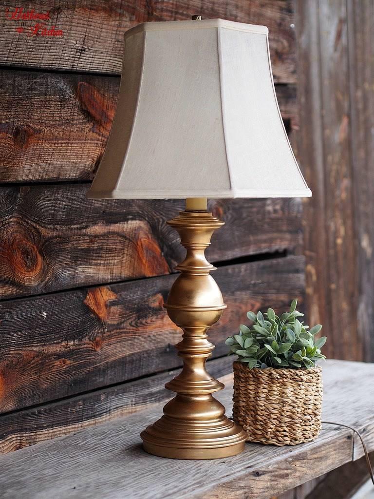 Large Antique Brass Finish Stamped Lamp Base