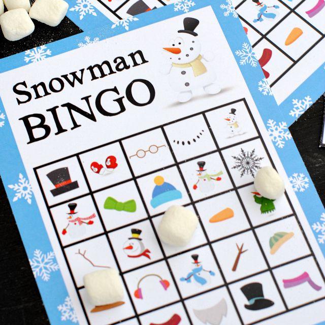 Snowman bingo cards with marshmallows.