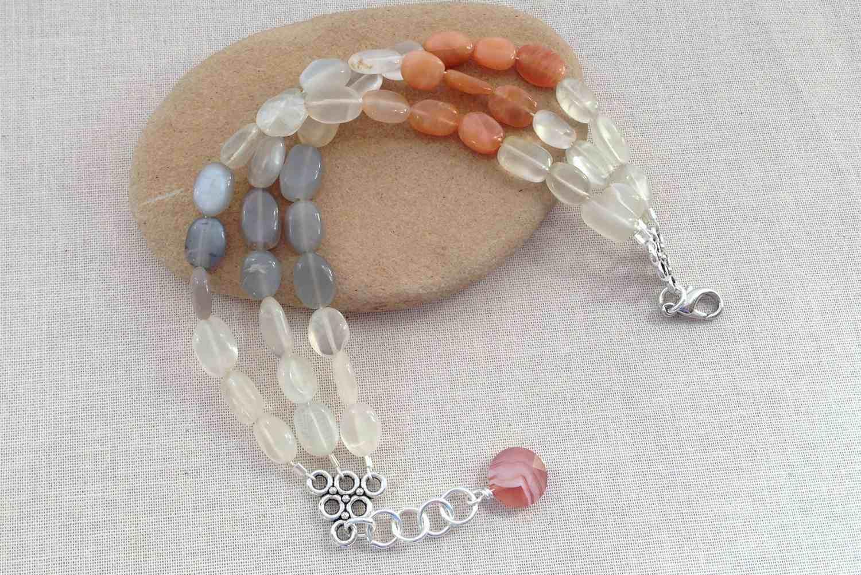 A multi-strand moonstone bracelet