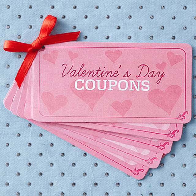 Picture of pink Valentine's Day love coupons