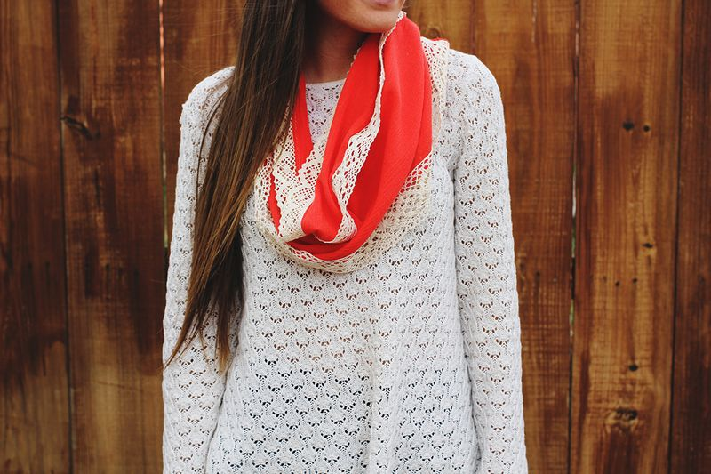 DIY Lace Trimmed Scarf