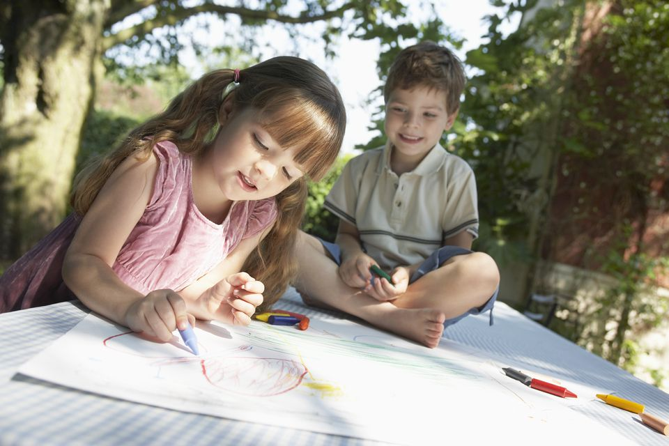 Two Children Coloring